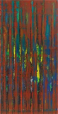 Herbstdunkel, 2012, Acryl, Schellack auf Nessel, 135x70 cm