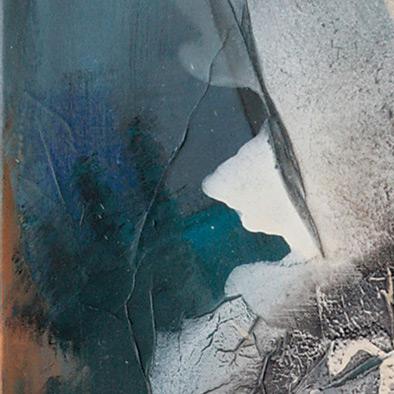 Blauer Klang, 2006, Papier, Mischtechnik auf Leinwand, 80x70 cm (Ausschnitt)