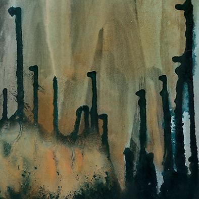Das Herz ist ein dunkler Wald II, 2007, Acryl, Schellack auf Nessel, 105x135 cm (Ausschnitt)