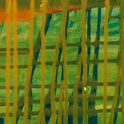 Kleines Rot im Grünen, 2010, Acryl auf Nessel, 115x135 cm (Ausschnitt)