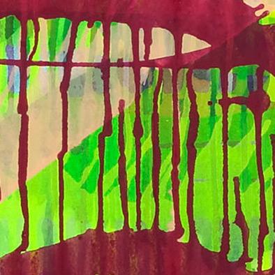 Rot auf Neongelb, 2008, Acryl auf Nessel, 100x120 cm (Ausschnitt)