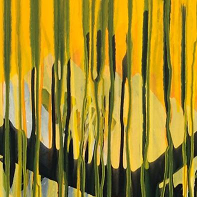 Dichtes Gelb mit Indischgelb, 2009, Acryl, Schellack auf Nessel, 135x125 cm (Ausschnitt)
