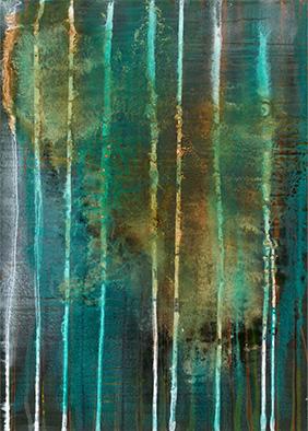 Backwater XI, 2014, Acryl, Schellack auf Nessel, 70x50 cm
