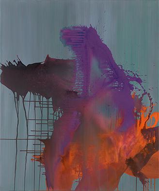 Entflammte Glut, 2018, Acryl auf Nessel, 120x100 cm