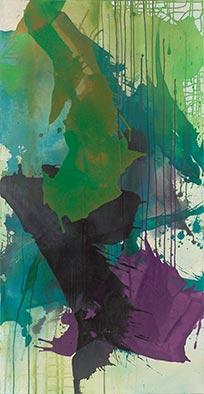 Grün Gewesenes II, 2016, Acryl auf Nessel, 135x70 cm