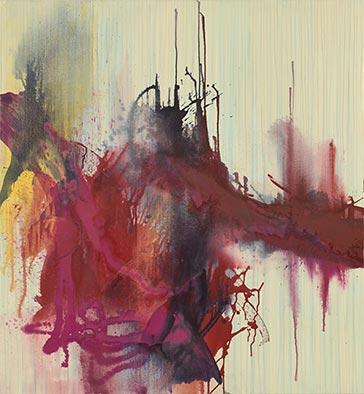 Implosion, 2015, Acryl auf Nessel, 135x125 cm