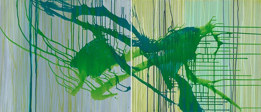 Annäherung, 2009/2015, Acryl auf Nessel, 70x160 cm, Diptychon