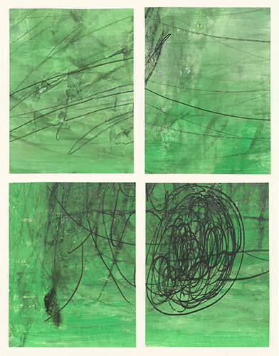 In Schichten, I-IV, 2015, Acryl, Linoldruckfarbe, Tintenstift und Kohle auf Zeichenfolie, 27x20, 5 cm