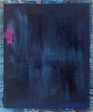 Dunkles Blau/Verschüttet, 2009/2020, Acryl auf Nessel, 120x100 cm